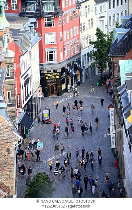 View of Strøget street from Rundetaarn, or the round tower, 17th century tower and observatory, the oldest functioning observatory in Europe, Copenhagen