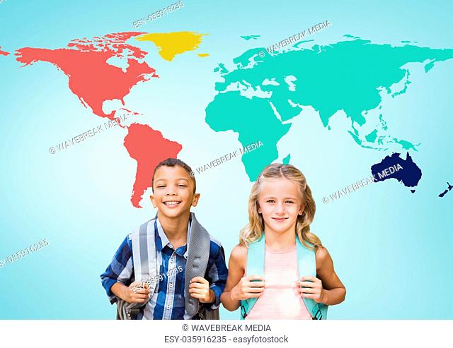 School kids in front of colorful world map
