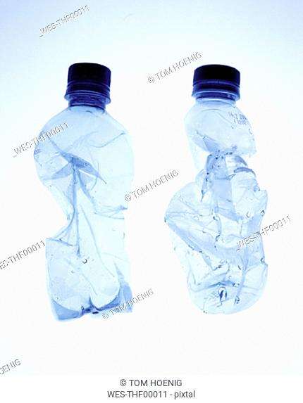 Crumpled water bottles