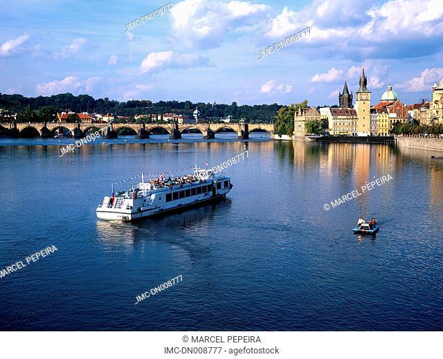 Czech republic, Prague, boat on Vltava river