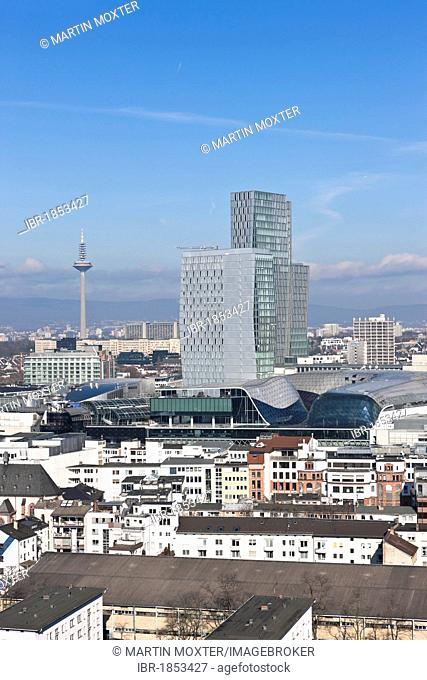 View of Frankfurt and its skyline, Opernturm tower, PalaisQuartier building project, FrankfurtHochVier, Frankfurt am Main, Hesse, Germany, Europe
