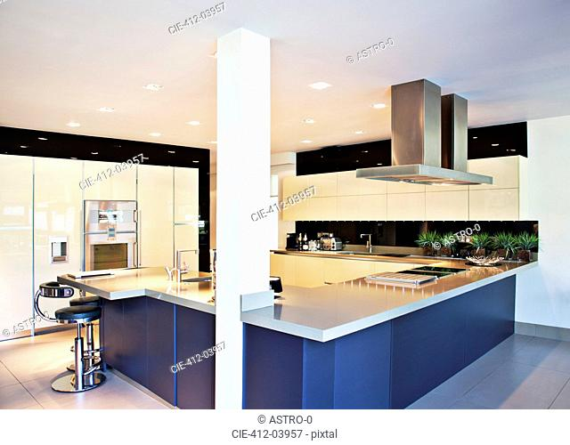 Counters and stove in modern kitchen