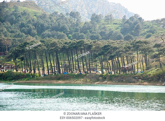 Caming at Cies island natural park, Galicia