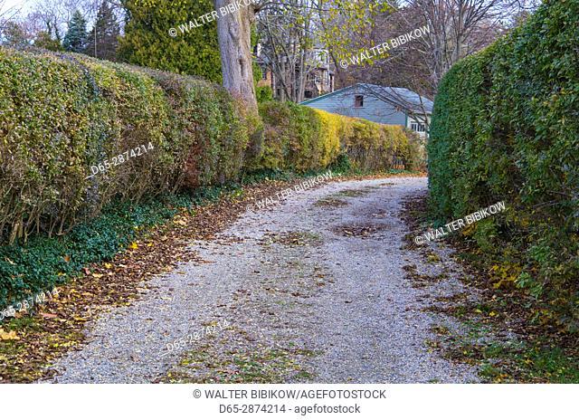 USA, Massachusetts, Cape Ann, Gloucester, Annisquam, village street, autumn