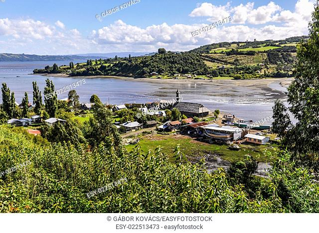 View of a small village, Chiloe Island, Patagonia, Chile