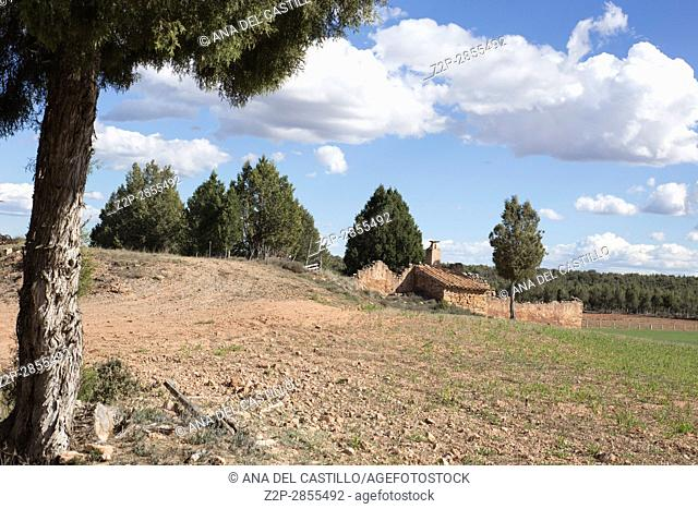 Spring landscape in Gudar mountains Teruel Aragon Spain