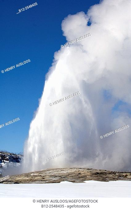 USA, Yellowstone National Park, Hot Springs in winter, Geyser Old Faithful