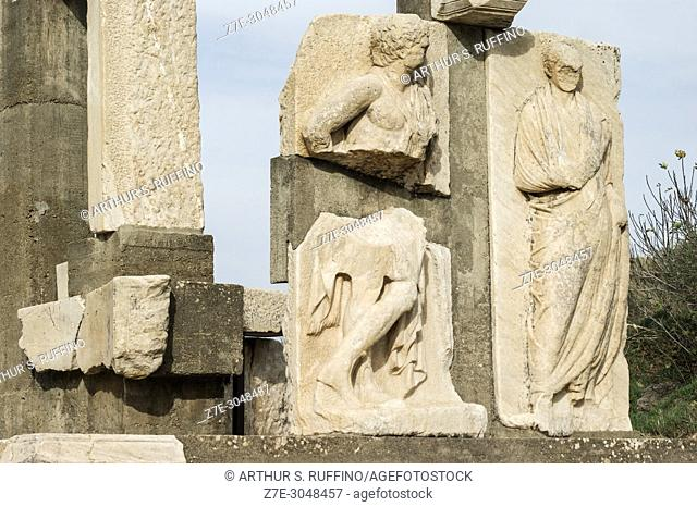 Detail of Memmius Monument group. Remnants of carved reliefs. Ephesus, UNESCO World Heritage Site, Selçuk, Izmir Province, Ionia Region, Turkey, Eurasia