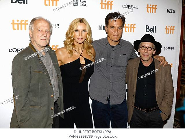 Director Werner Herzog (L) and actors Veronica Ferres and Michael Shannon attend with Lawrence Krauss the premiere of the movie 'Salt and Fire' during the 41st...