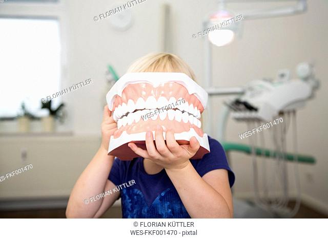 Girl in dental sugery holding big tooth model