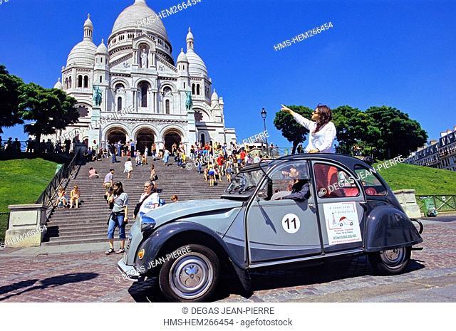 France, Paris, 2CV Tour in Paris, Montmartre District, Basilique du Sacre Coeur Basilica of the Sacred Heart