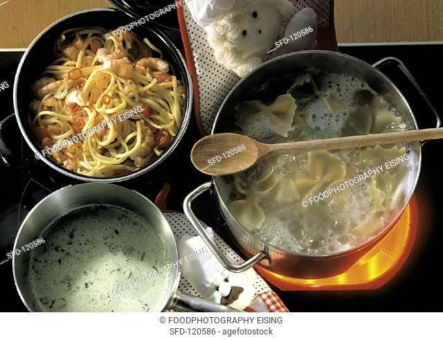 Three Pots on a Stove, Farfalle Pasta, Linguine with Shrimp, Herb Cream Sauce