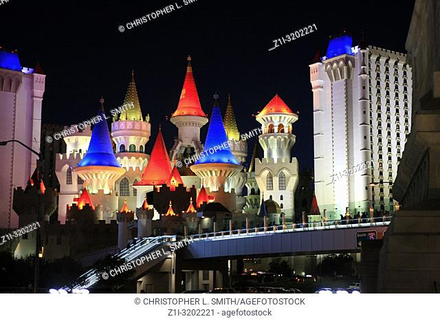 The Excalibur hotel at night, lit up like a fairytale castle in Las Vegas, Nevada