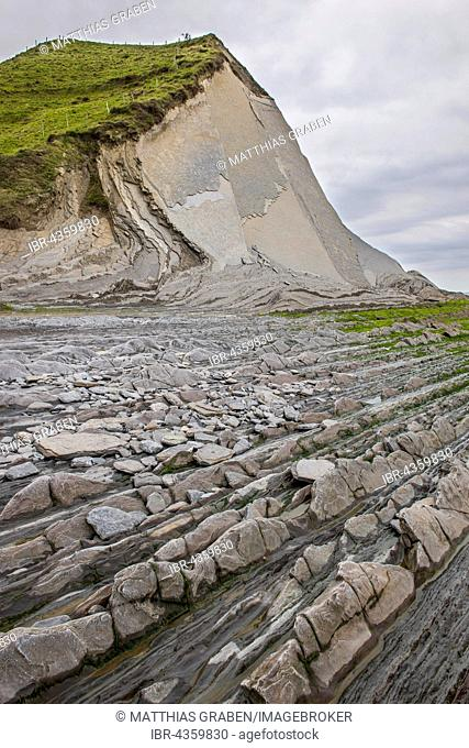 Flysch, different layers of rock, Cantabrian coast, Deba, Basque Country, Spain