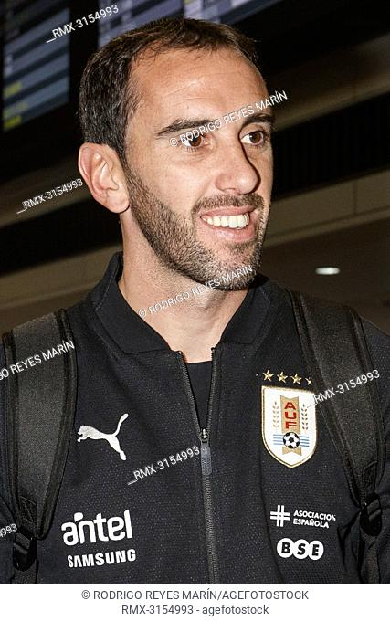 October 13, 2018, Chiba, Japan - Defender Diego Godin arrives at Narita International Airport in Chiba. The Uruguay national football team is here to play...