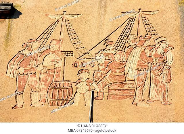 Long Lane, relief on house wall, boatmen and merchants, Gdansk, Danzig, pomorskie, Pomeranian Voivodeship, Poland