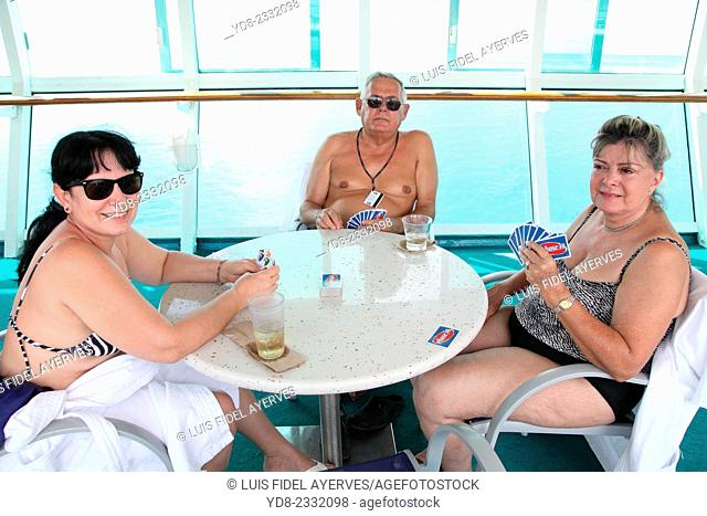Tourists on the deck of the cruise Majestic of the Seas Royal Caribbean