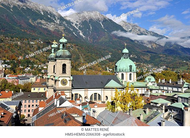 Austria, Tyrol, Innsbruck, the cathedral Saint-Jacob (Dom Sankt Jakob) sight of the belfry of the Stadtturm tower