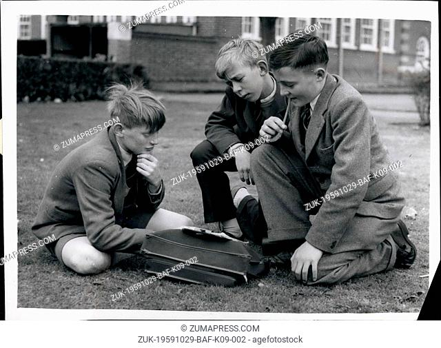 Oct. 29, 1959 - The Schoolboys who formed an Insurance Society Shut Up Shop A school insurance society formed by boys to pay compensation for canings
