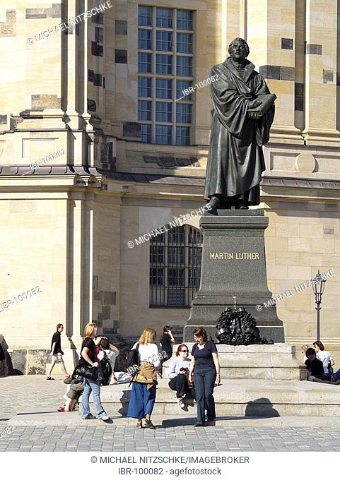 Dresden, Saxony, the Frauenkirche new built up and the Martin Luther monument