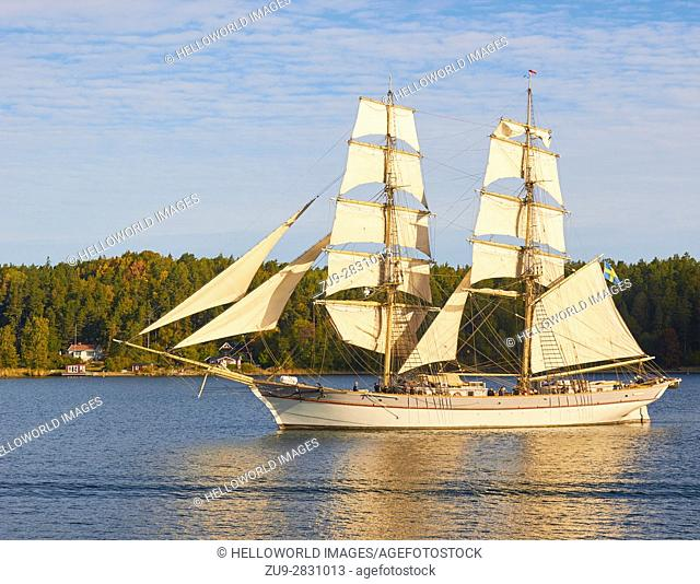 Sailing ship in the Stockholm archipelago, Sweden, scandinavia