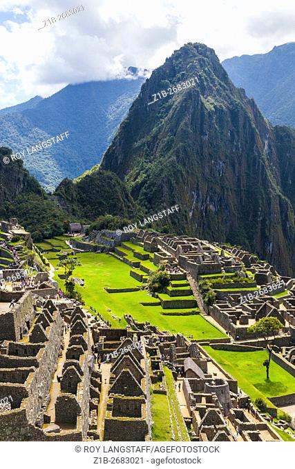 Overview of the Machu Picchu settlement in the Andes Mountains of Peru