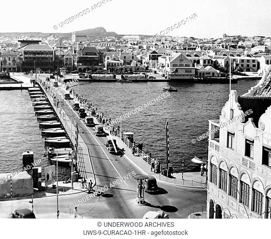 Curacao: November 20, 1942. A view of the pontoon bridge across the entrance to St. Anna Bay harbor at Willemstad, the capitol of the island