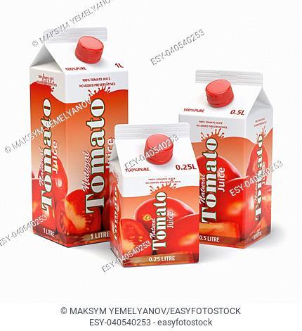 Tomato juice carton cardboard box pack isolated on white background. 3d illustartion