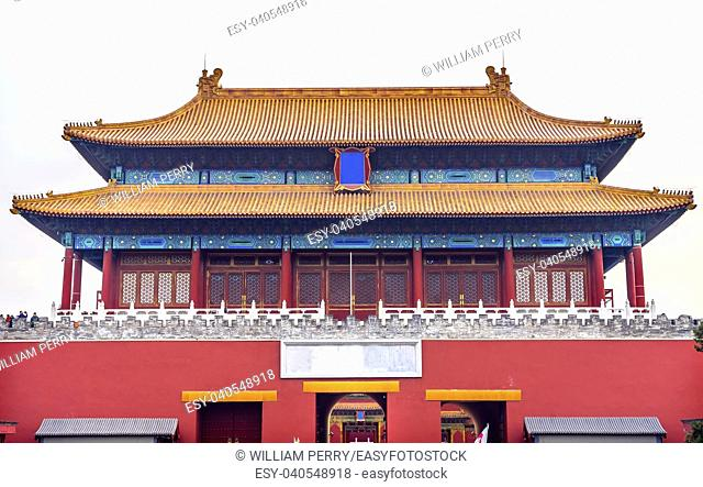 Rear Gate Heavenly Purity Gugong Forbidden City Moat Canal Palace Wall Beijing China. Emperor's Palace Built in the 1600s in the Ming Dynasty