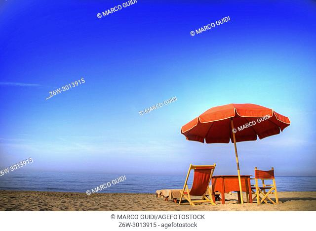 View of the equipped beach of Versilia, Italy