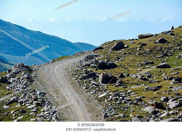 Road turn in mountains. Tien Shan, Kyrgyzstan