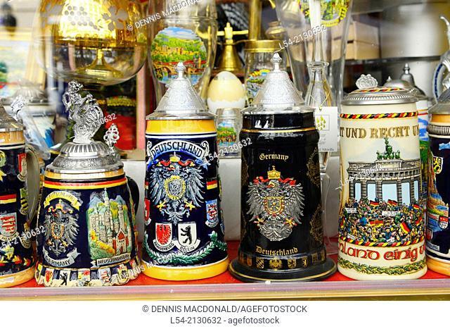 Beer Stein Display Heidelberg Germany DE Europe Neckar River
