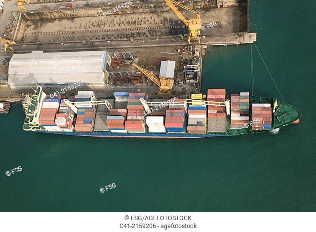 Container ship. Port of Tarragona, Spain