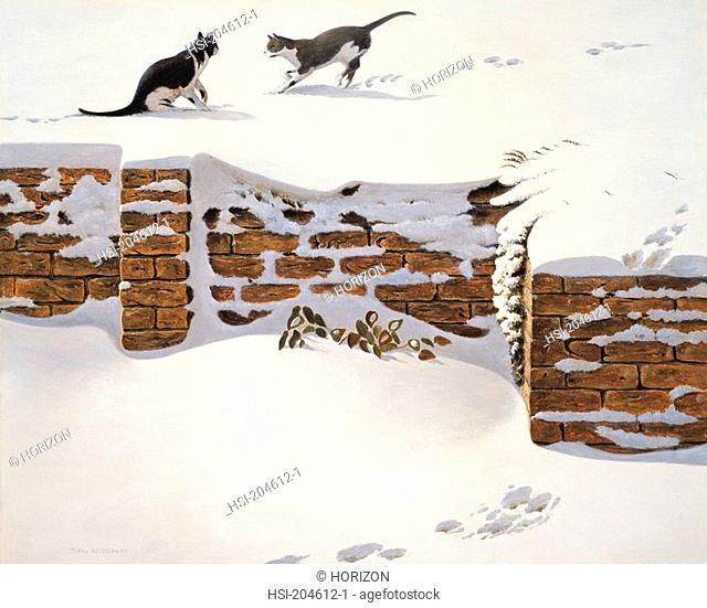 Artwork, Illustration, Animal, Cats, Playing in the snow