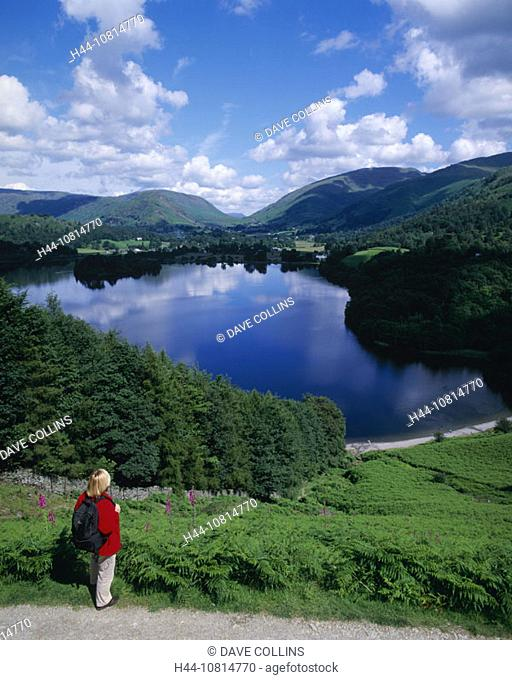Walker, hiking, woman, rucksack, Grasmere, Lake District, national park, Cumbria, England, Europe, Great Britain