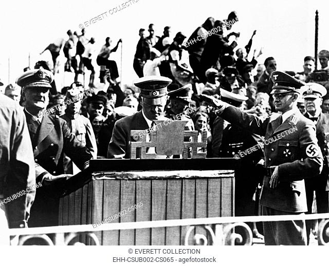 Hitler and Hungarian Regent Horthy at Heligoland Island in the North Sea, Sept. 1, 1938. Adolf Hitler signed the Golden Book of this island
