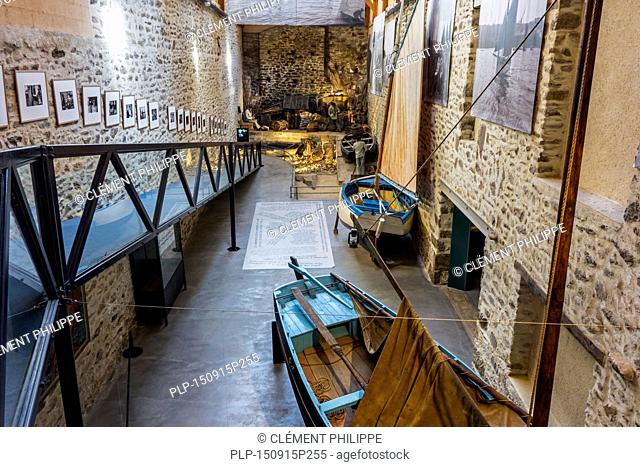 Interior of the Port Musée, boat museum at Douarnenez, Finistère, Brittany, France