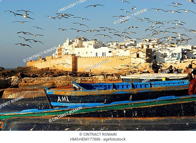 Morocco, Essaouira, old town and its ramparts seen from fishing harbour