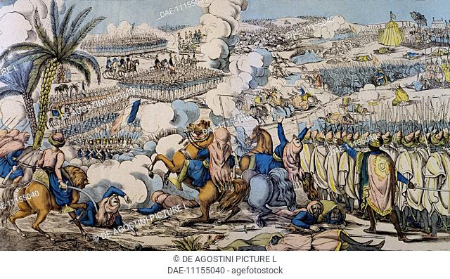 The battle of Isly, which was won by the French colonial troops against the Moroccan army, August 14, 1844. Franco-Moroccan war, Morocco, 19th century