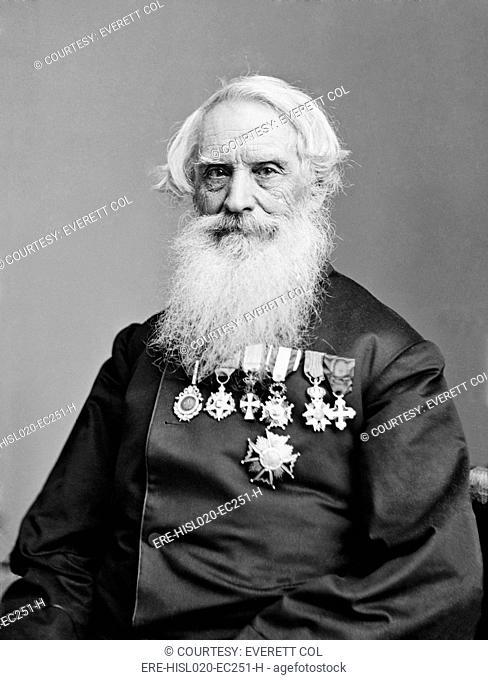 Samuel F. B. Morse 1791-1872, painter and inventor of an electric telegraph, in old age. Ca. 1860