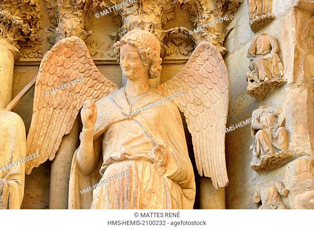 France, Marne, Reims, Notre Dame cathedral, listed as World Heritage by UNESCO, detail of a sculpture representing the angel with the smile on the western...