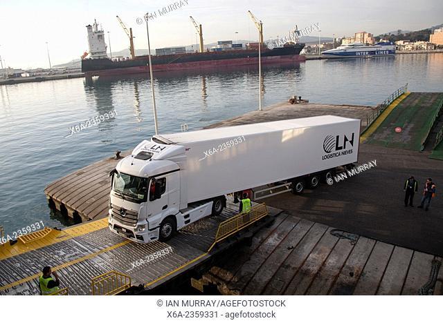 Heavy goods vehicle boarding ferry at Port of Algeciras, Spain