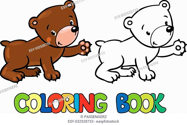 Coloring book or coloring picture of funny bear