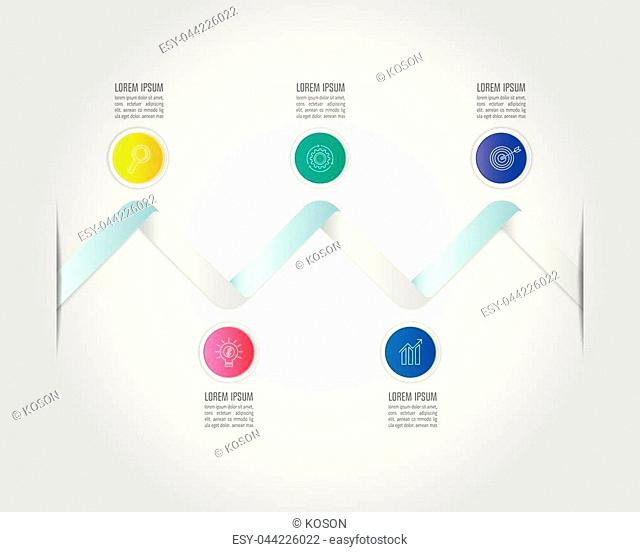 Creative concept for infographic with 5 options, parts or processes. Timeline infographic business design and marketing icons for presentation, annual report