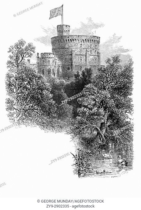 1870: The Round Tower, built by Henry II in 1170. It replaced a wooden Norman keep which was part of the Windsor Castle constructed by William the Conqueror...