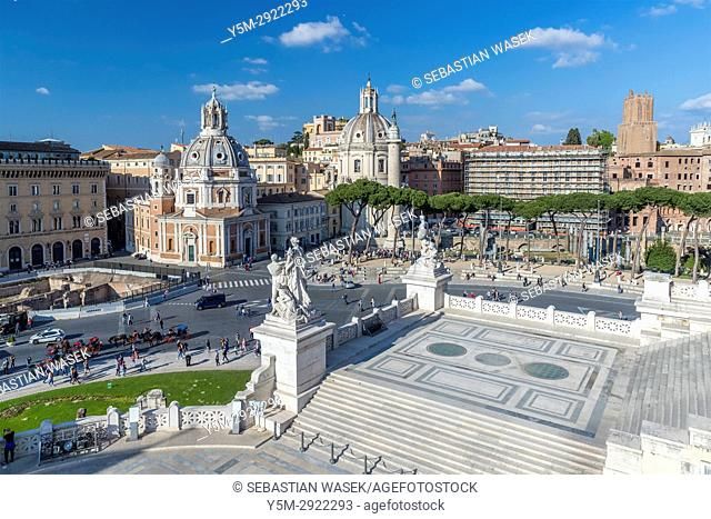 Piazza Venezia seen from Altar of the Fatherland, Rome, Lazio, Italy, Europe