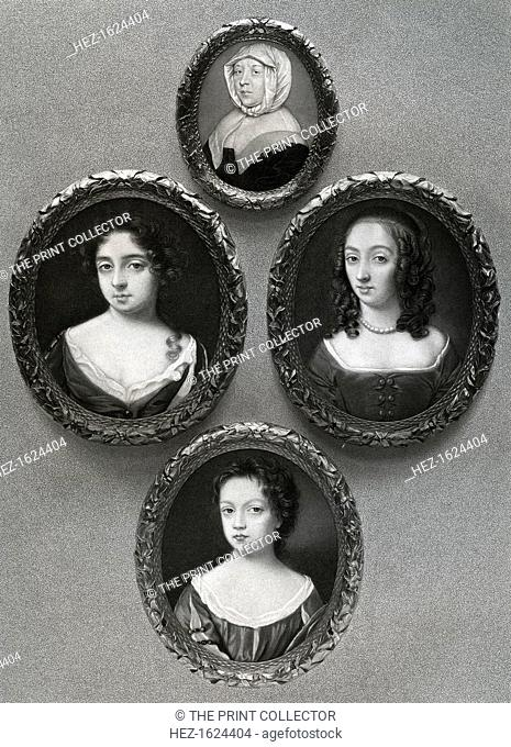 Elizabeth Cromwell, (at top), mother of Oliver Cromwell, and his daughters, Mary, (on left), Elizabeth, (on right), and Bridget, (at bottom), 17th century