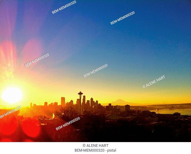 City skyline at sunrise, Seattle, Washington, United States