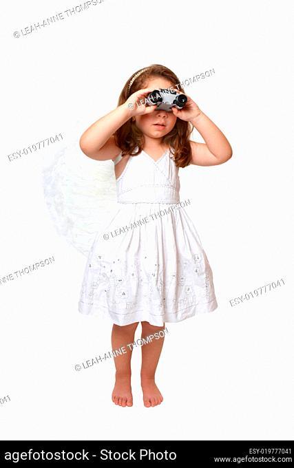 Heavenly angel looking watching through binoculars
