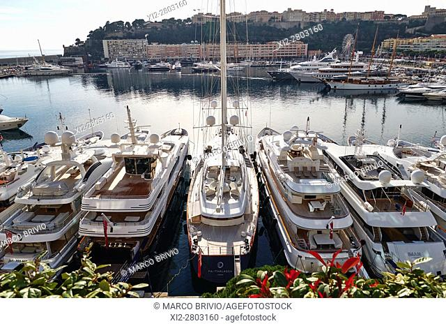 View over Port de Monaco, Montecarlo, the harbour of Monaco